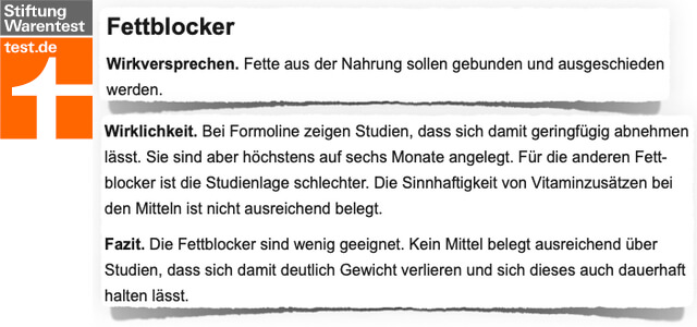 Formoline L112 Stiftung Warentest Bewertung Kritik Test