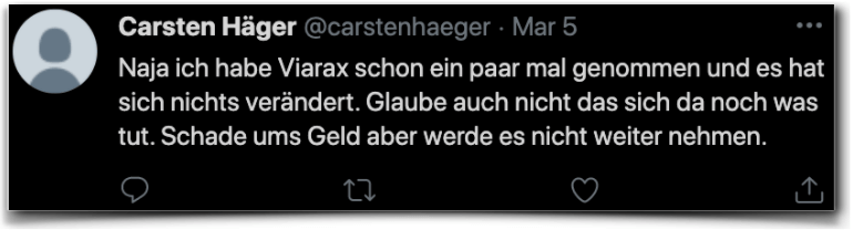 Viarax Erfahrungsbericht Kritik twitter